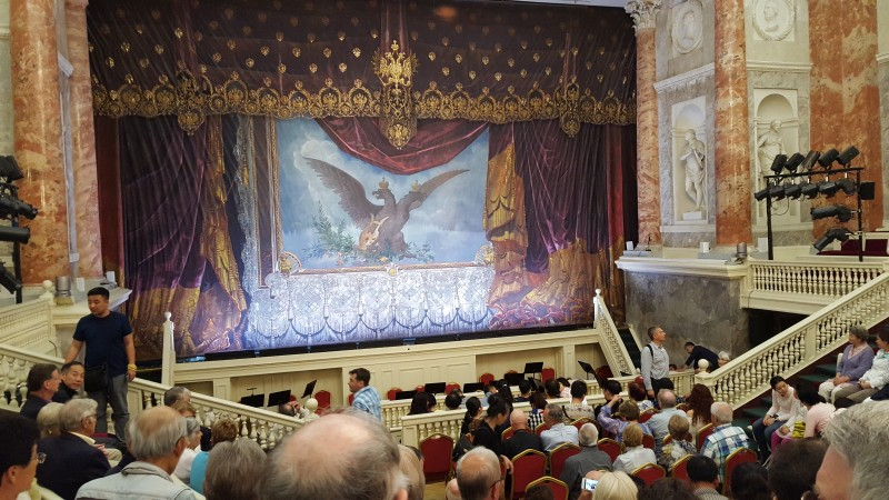 "The theater in which we saw ""Swan Lake."""
