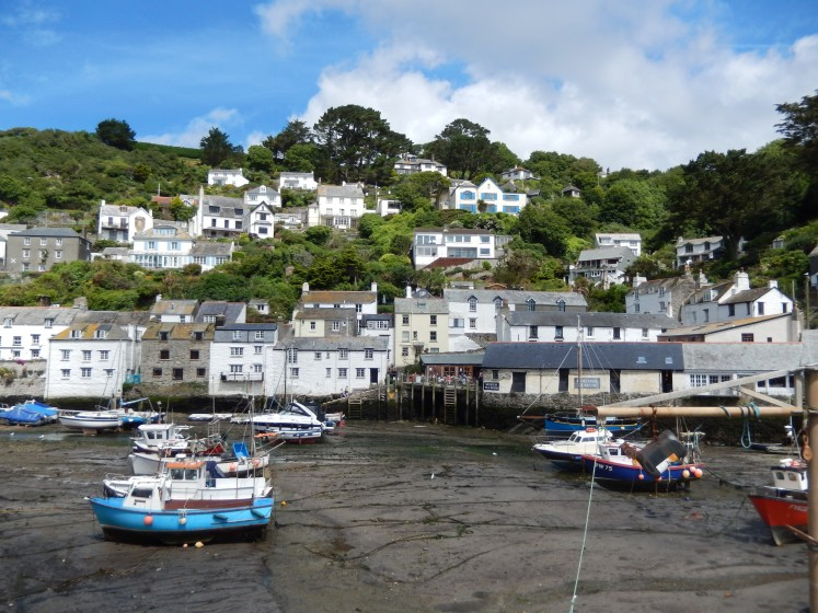 Polperro with boars waiting for high tide.