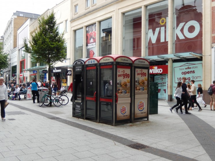 Phone booths are everywhere and actually have pay phones, as well as ATMs and wi-fi access in them.