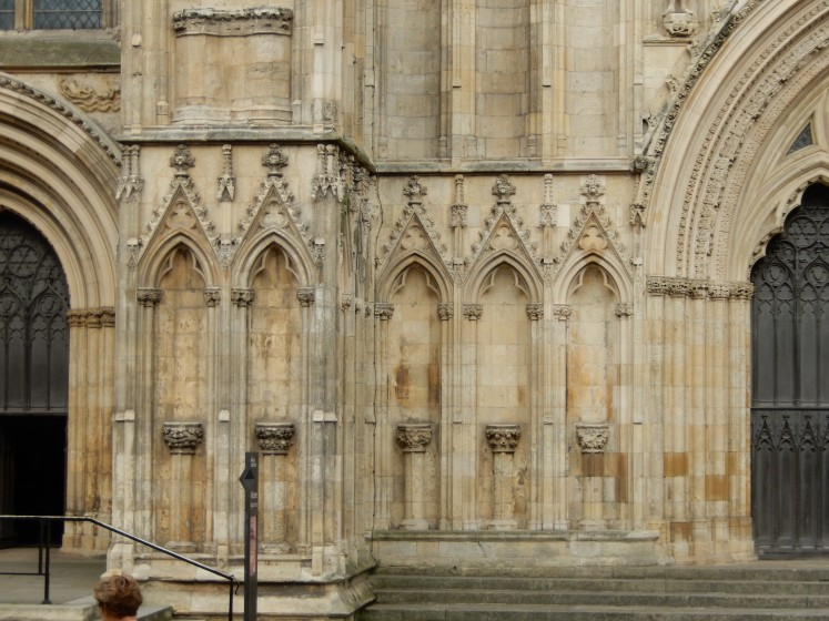 Part of the front of the York cathedral. You can see where the stone statues used to be.