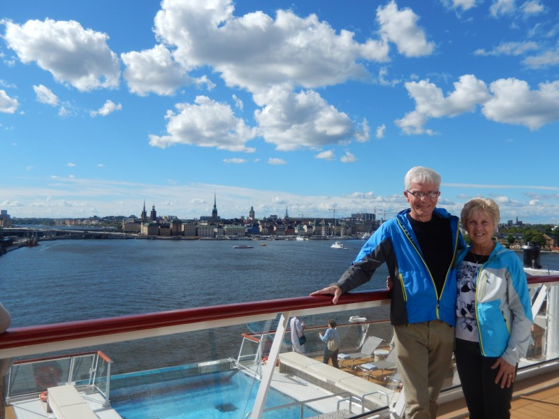 That's us on the ship with Stockholm in the background. Hey! It's sunny for a change! And we're only wearing light jackets instead of warmer ones.