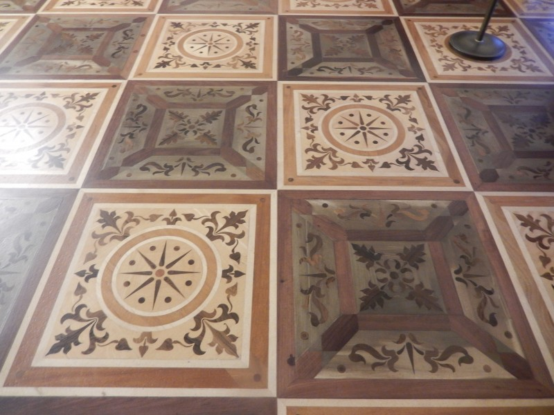 One of the beautiful inlaid wood floors in the Hermitage.