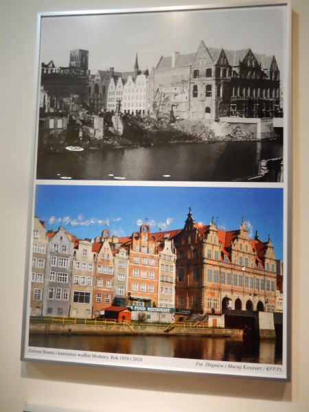 This is a before-and-after picture of one small part of Gdansk. The upper portion shows the war damage and the lower portion shows the reconstruction.