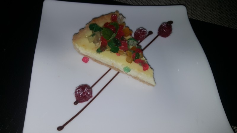 A piece of cheesecake Ted ordered for dessert one evening.