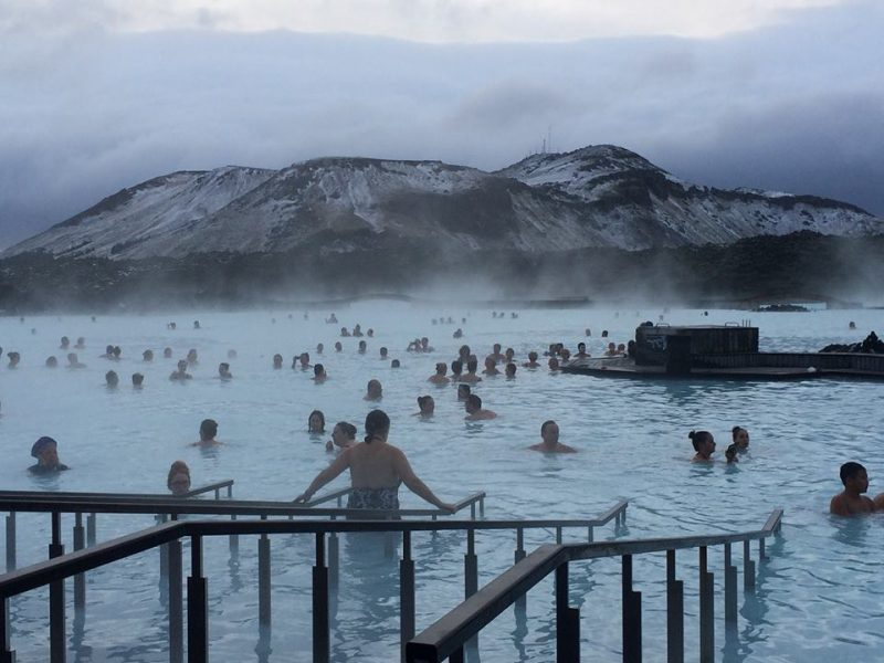 My friend, Elaine took this picture in the Blue Lagoon in November. It was 30 degrees and windy. She had a warm hat on her head.