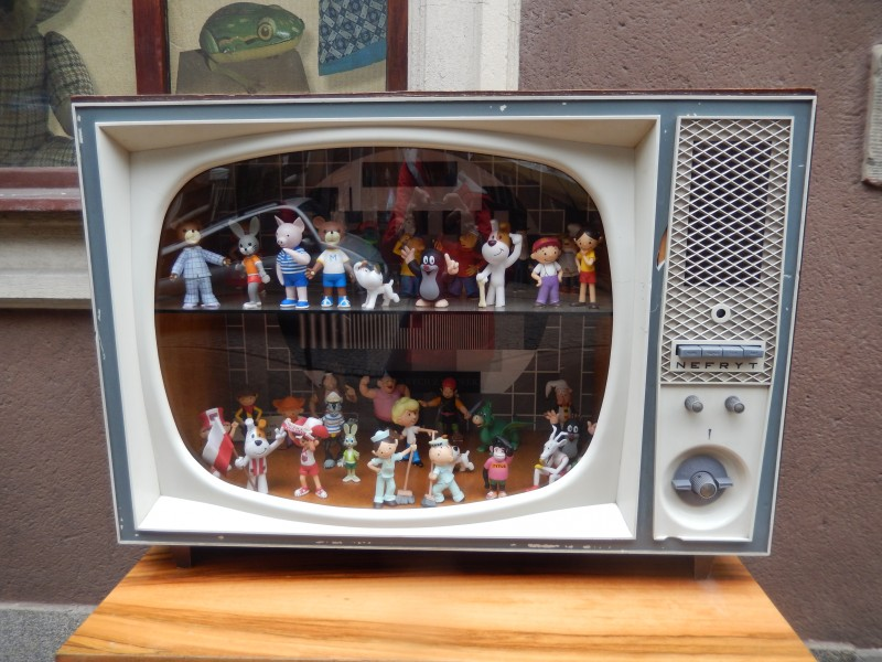 Not only retro toys, but a retro TV as well.