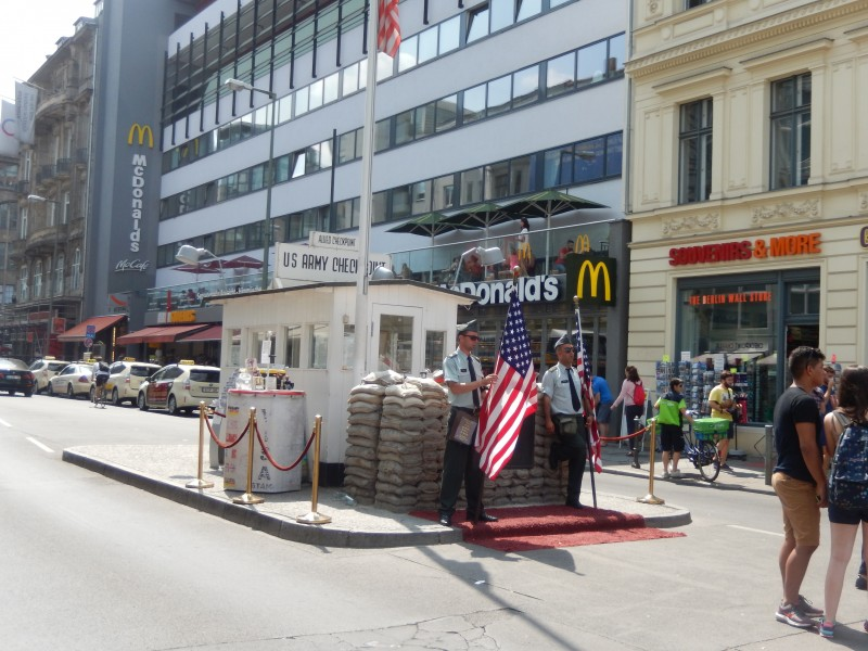 This is the fake building, complete with fake soldiers, at the real site of the American Checkpoint Charlie.