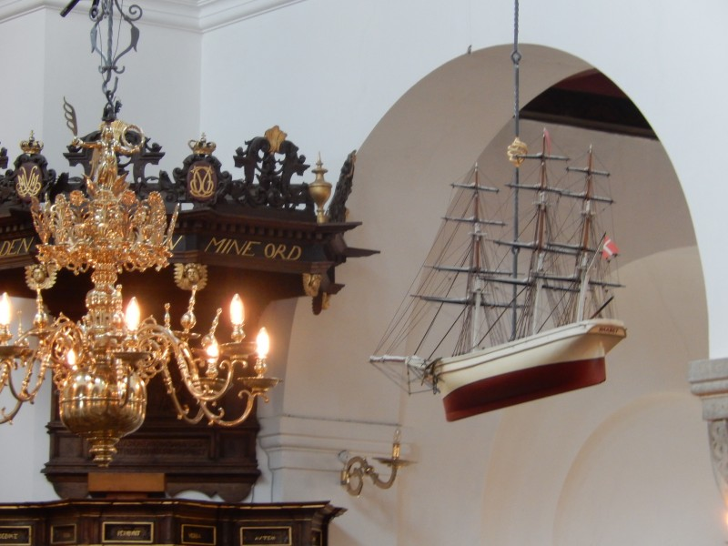 Here is the ship hanging in the Ålborg church.