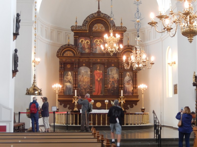 The altar of the church. There is a large pipe organ in the back of the sanctuary.