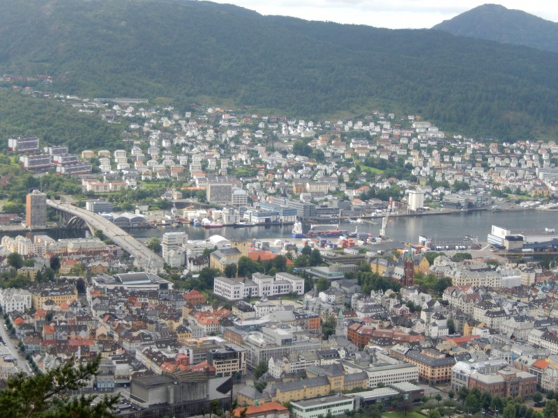 A city view of Bergen from above.