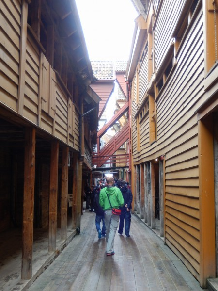 This is one of the shopping alleys. We were under the overhang on the left during the rain.