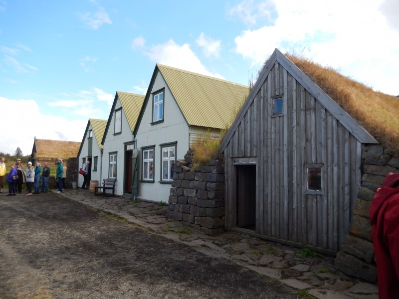 Some of the houses and the attached stable.