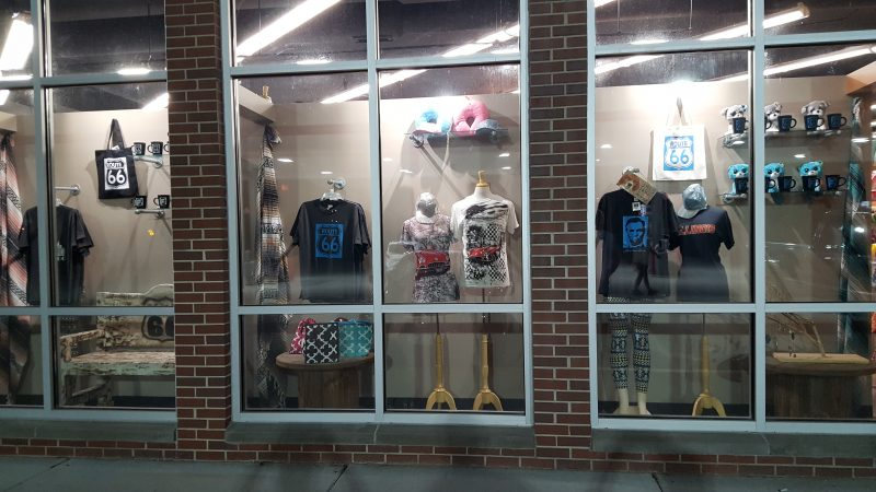 """The tempting window display to attract our interest. Everything says """"Route 66"""" somewhere on it."""
