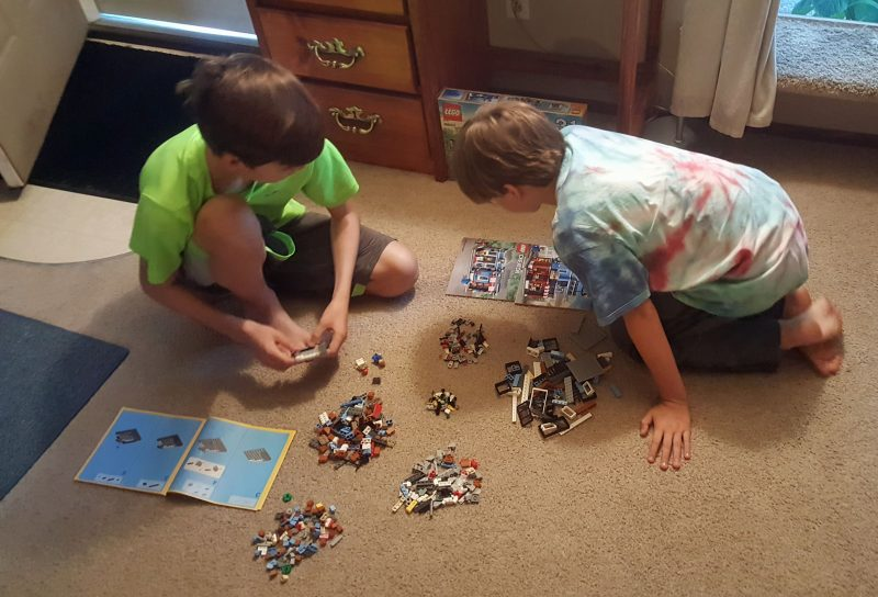 Sky and Dylan were eager to build the new Lego set.