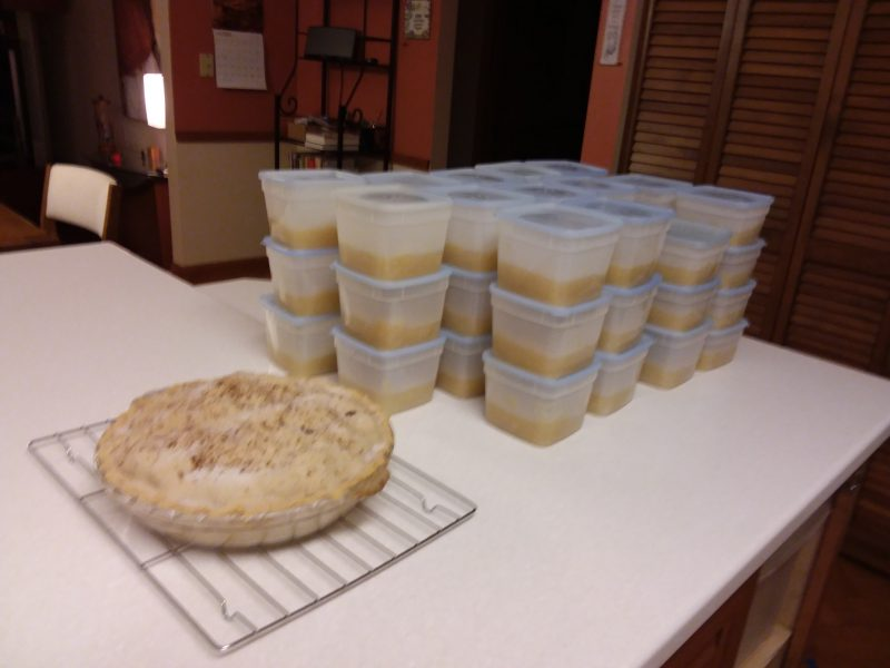 Applesauce headed for the freezer and a pie for later today