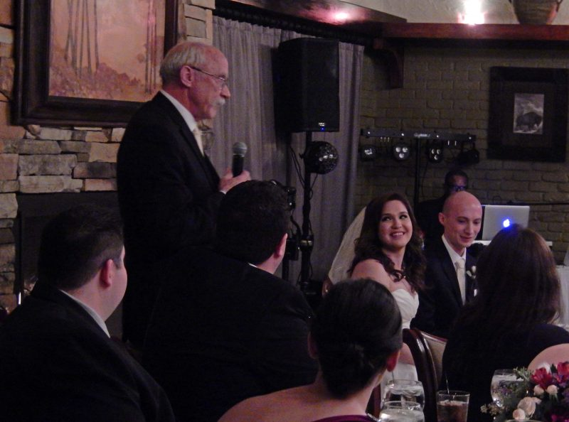 Tom (father of the groom) making a toast. He quoted Ella Genzmer.