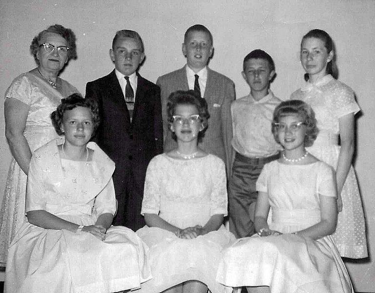 "L->R back row: Mrs. Genzmer, ""Big"" Bob Wilterdink, Bob Swart, Buddy Ramaker, Bonnie Ramaker. L->R front row: Ruth Dolfin, Judy Dirkse, me. Official photographers: Our mothers."