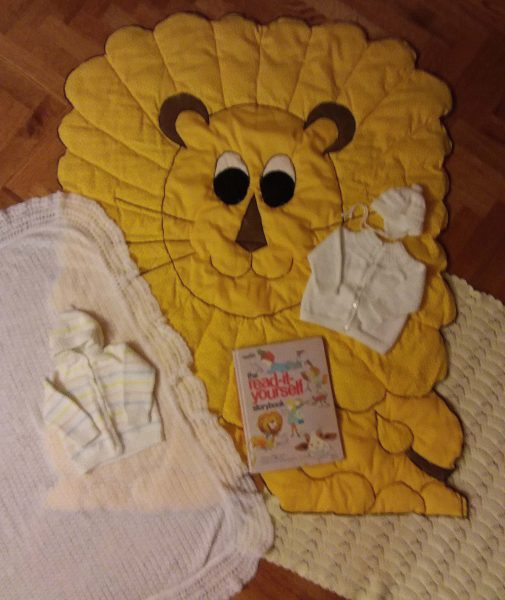 Gifts from the baby's great-grandma, its grandma, and its father