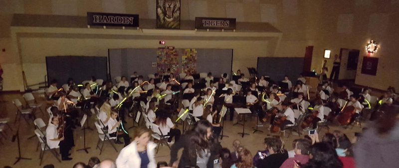 """""""Light sabers"""" attached to the instrument bows to play the """"Star Wars"""" theme"""