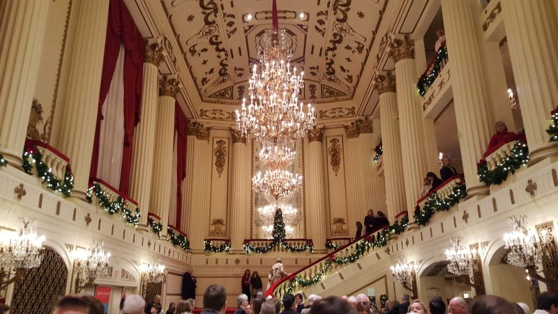 Powell Hall lobby decorated for Christmas