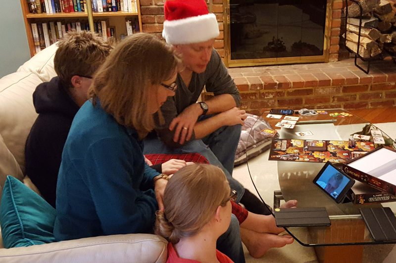 Sharing Christmas with Alex on a Google Hangouts video call.