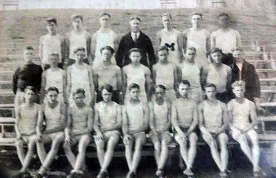 1923 Lincoln High School (Manitowoc) track team. Paul is third from the left in the first row.